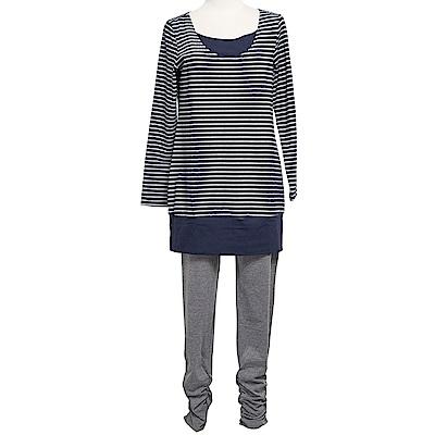 【ohoh-mini 孕婦裝】美學主義條紋長版休閒哺乳套裝