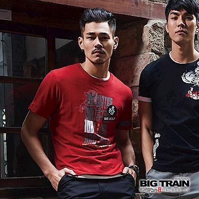 BIG TRAIN 加大水滸貼標圓領短袖-男-紅色