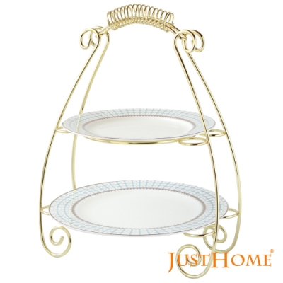 Just Home洛德爾高級骨瓷螺紋雙層蛋糕平盤附盤架3件組(8.75吋+10.5吋)
