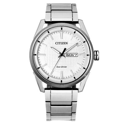 CITIZEN 光動能格紋設計時尚腕錶-銀(AW0080-57A)42mm