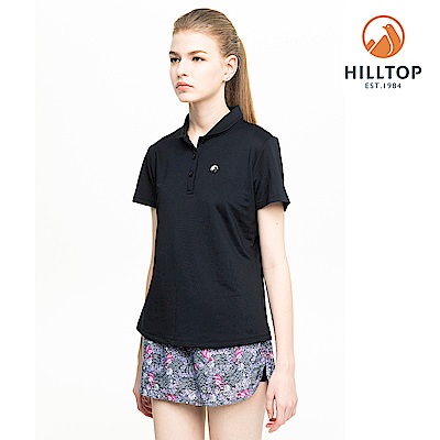 【hilltop山頂鳥】女款吸濕快乾消臭抗UV彈性POLO衫S14FF1黑美人
