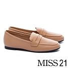 低跟鞋 MISS 21 復刻經典知性全真皮樂福低跟鞋-咖