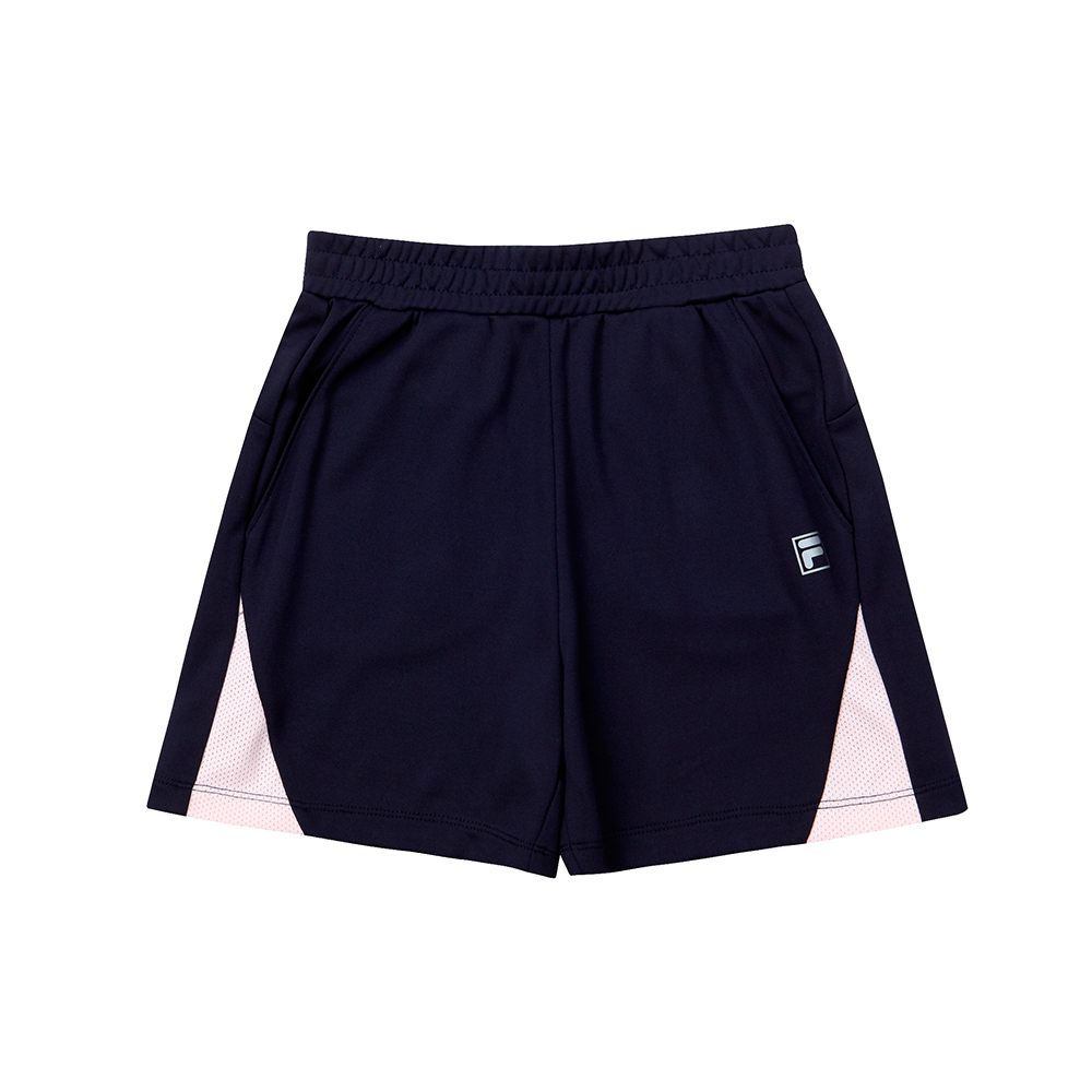 FILA KIDS 吸濕排汗四分褲(咖啡紗)-丈青 5SHT-4322-NV