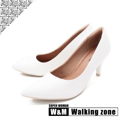 WALKING ZONE SUPER WOMAN系列 尖頭高跟上班淑女鞋 女鞋- 白(另有黑.藍.卡其)