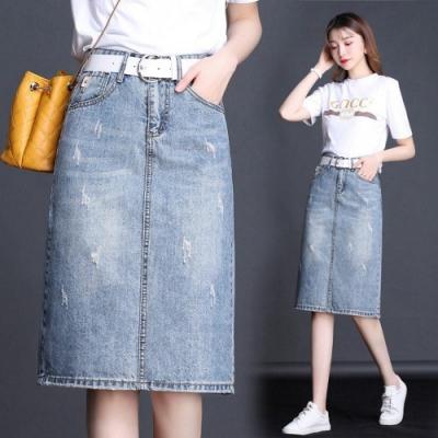 簡約主義黃金比例時尚牛仔半身裙(不含腰帶)S-2XL-WHATDAY