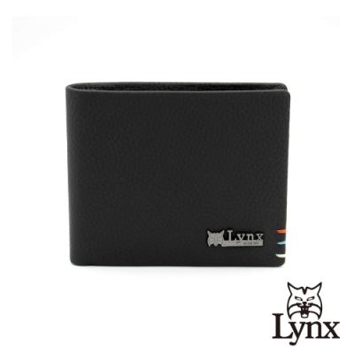 【LYNX】美國山貓自然紋進口牛皮橫式雙折4卡壓扣零錢袋短夾 皮夾 錢包-黑色