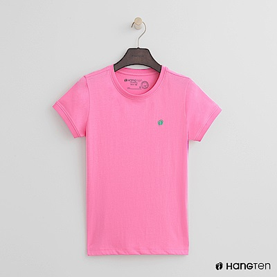 Hang Ten - 女裝 - 有機棉-logo圓領純色T恤 - 粉