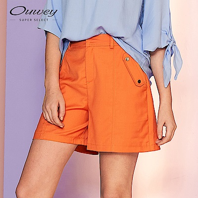 OUWEY歐薇 時尚口袋短褲(黑/可/水/桔/藍)