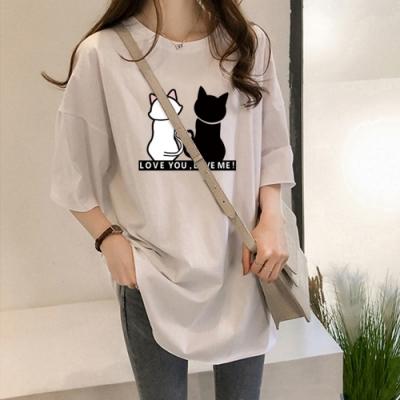 2F韓衣- 簡約雙色貓印花造型上衣-3色(M-2XL)