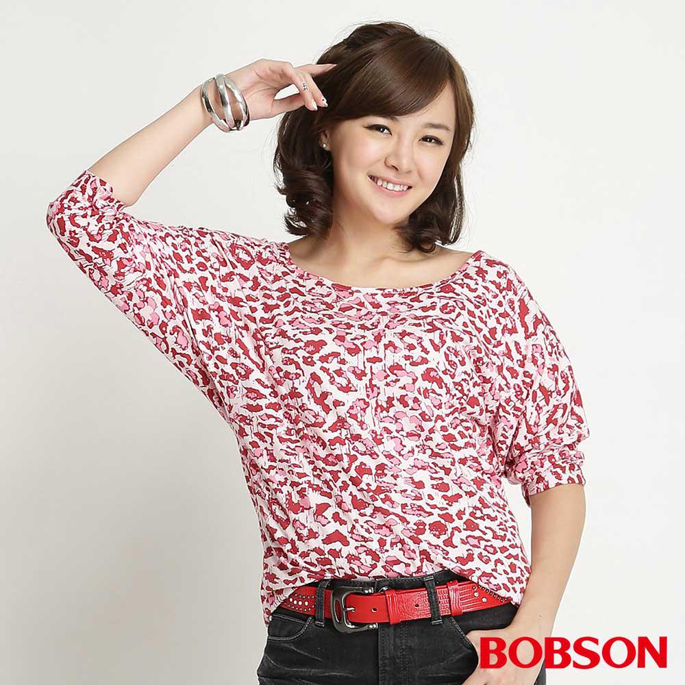 BOBSON 女款迷彩七分袖上衣(粉紅10)