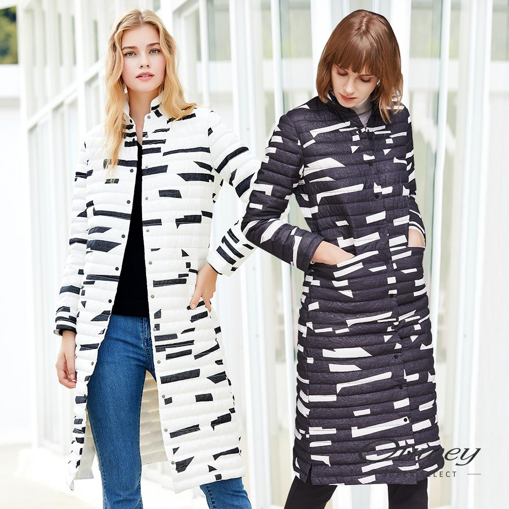 OUWEY歐薇 時尚幾何立領長版羽絨外套(黑/白) @ Y!購物