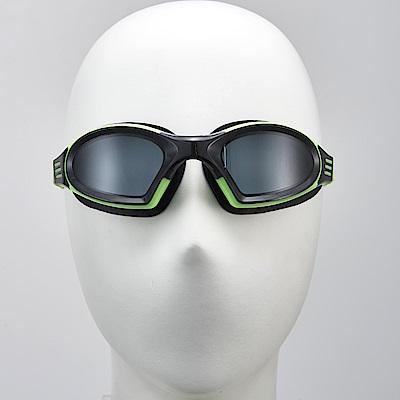 聖手牌 泳鏡 後扣式頭帶綠色平光防霧泳鏡