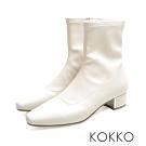 KOKKO - 繁華卡薩布蘭卡金屬跟方頭襪靴-米白