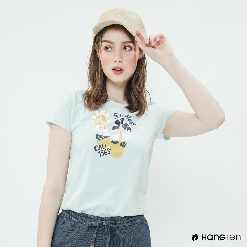 Hang Ten -女裝 - 有機棉-簡約夏日海邊圖樣短T - 綠