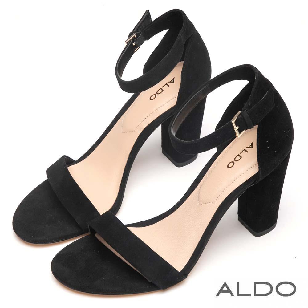 ALDO 原色真皮一字繫踝釦帶粗高跟涼鞋~尊爵黑色