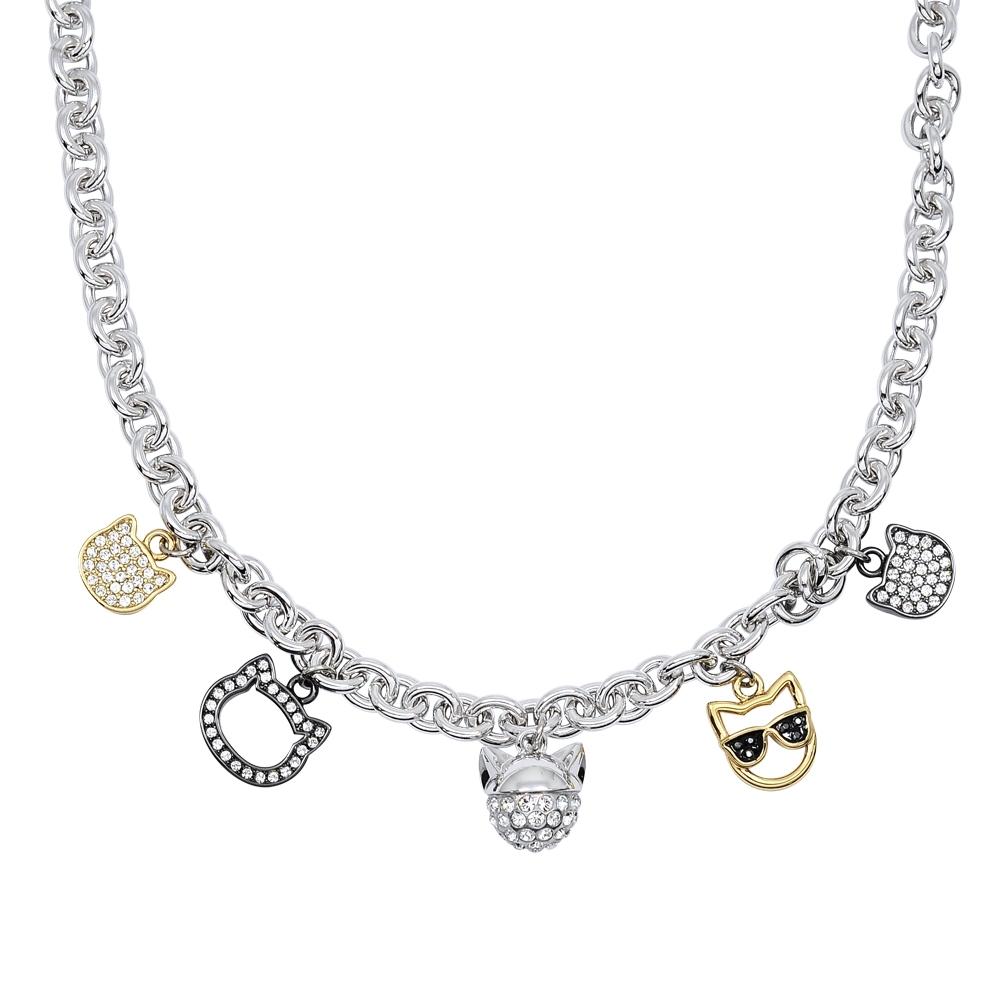 Karl Lagerfeld CHOUPETTE 貓咪造型墜飾銀色項鍊