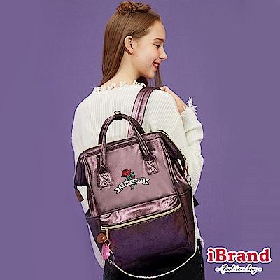 iBrand後背包 少女玫瑰花夢微亮片大開口後背包-紫色