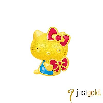 鎮金店Just Gold Ribbon Love純金系列 黃金單耳耳環-Kitty