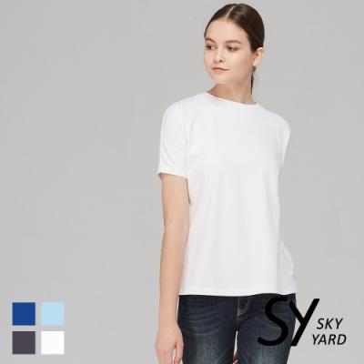 【SKY YARD 天空花園】舒適棉素面寬袖圓領休閒上衣-白色