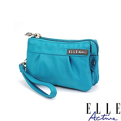 ELLE Active 優雅隨行系列-多夾層零錢包/手腕包/手拿包-藍綠色