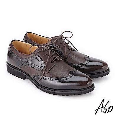 A.S.O 3D超動能 鏡面壓紋綁帶紳士皮鞋 咖啡
