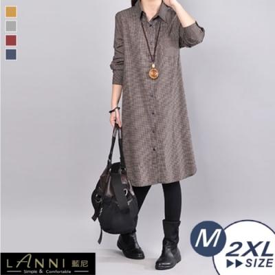 【LANNI 藍尼】文青淡雅中長版襯衫-4色(M-2XL)●