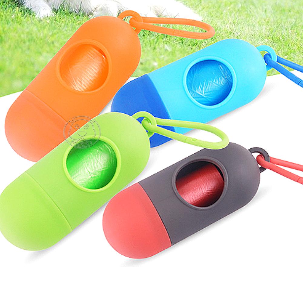 DYY》膠囊寵物外出用環保撿便器附15個垃圾袋(顏色隨機)