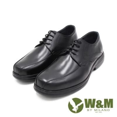 W&M(男)圓頭流線壓紋綁帶款 皮鞋 男鞋 -黑