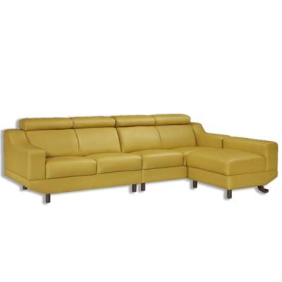 【AT HOME】現代簡約橄欖色半牛皮L型沙發(艾維斯)