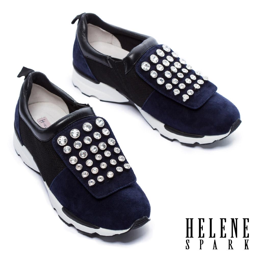 休閒鞋 HELENE SPARK 摩登時尚白鑽設計異材質拼接厚底休閒鞋-藍