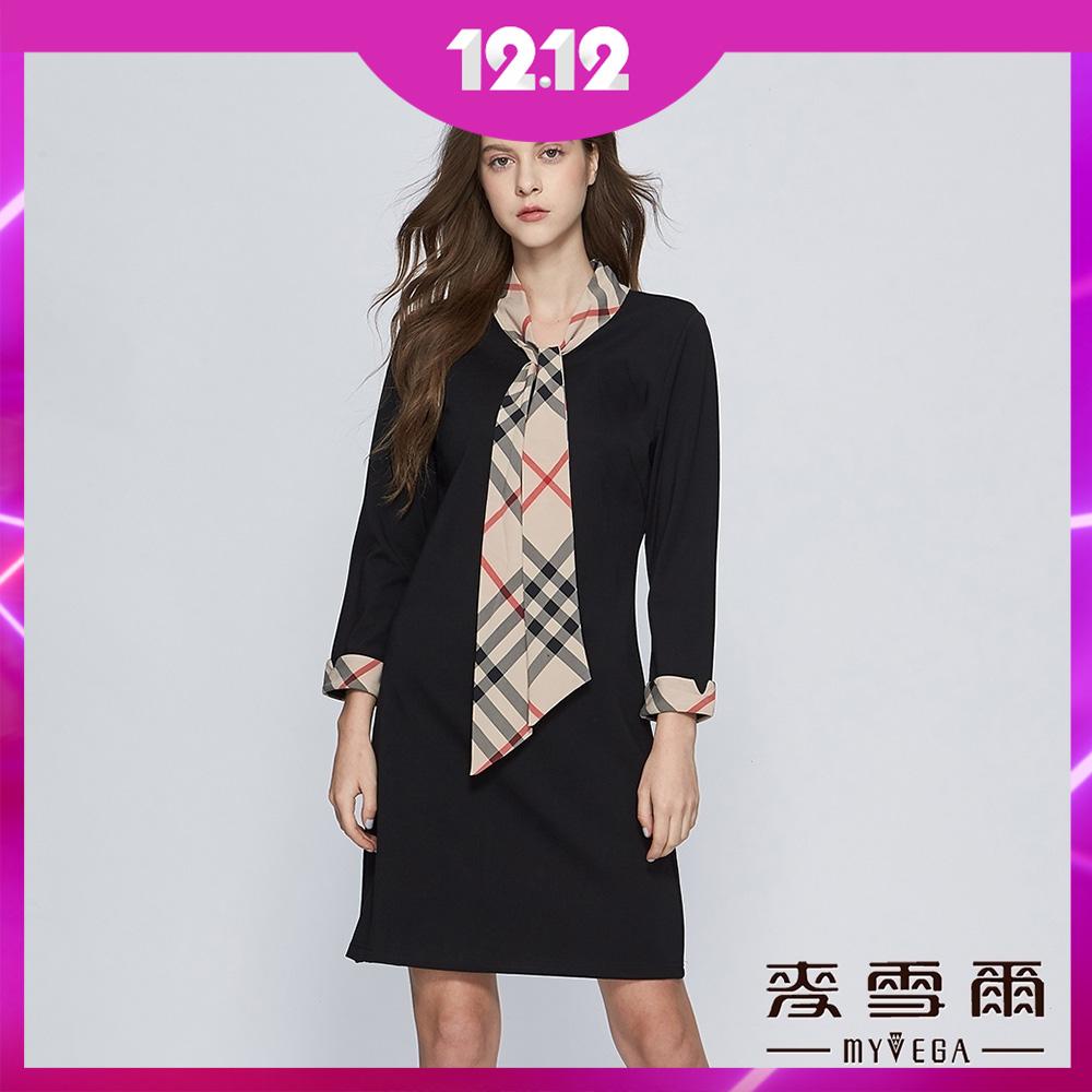 時時樂限定 【麥雪爾】領巾英式格黑短洋裝