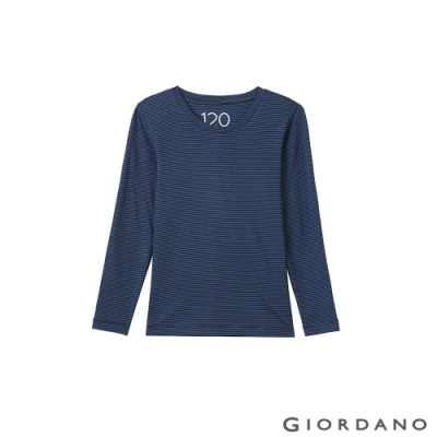 GIORDANO  童裝G-Warmer彈力圓領極暖衣 - 53 標誌黑x琉璃藍