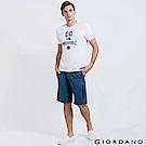 GIORDANO 男裝棉質素色抽繩腰頭針織短褲-73 雪花深藍