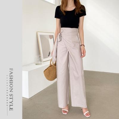 2F韓衣-簡約側綁帶造型寬褲-杏(M-L)