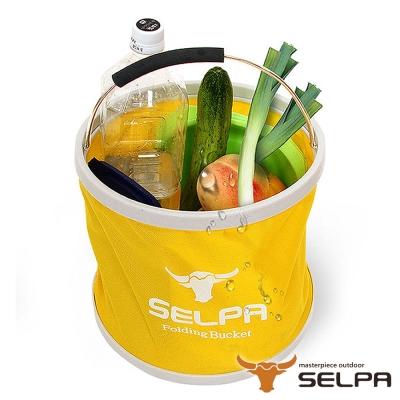 韓國SELPA 收納大容量可摺疊多用途水桶 黃 裝水 釣魚 露營 洗車