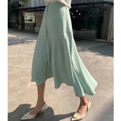 長裙 高腰氣質排扣質感長裙PV9304-創翊韓都