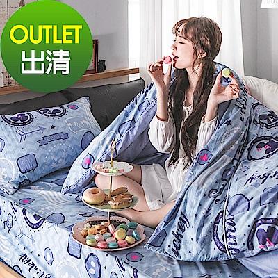 戀家小舖 / 單人床包被套組  美式米奇  100%精梳棉  台灣製
