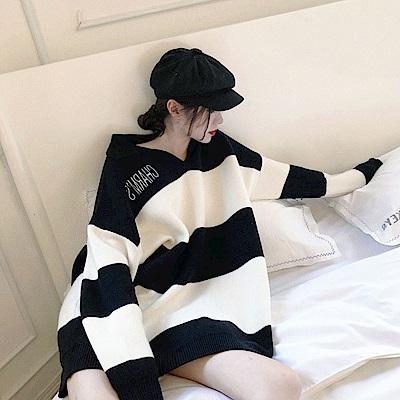 DABI 韓系復古翻領條紋保暖針織衫長袖上衣