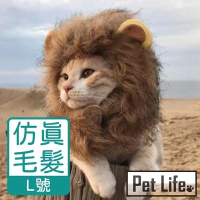 Pet Life 寵物貓狗獅子造型頭套/搞怪變裝頭套/帽子 頸圍38 L