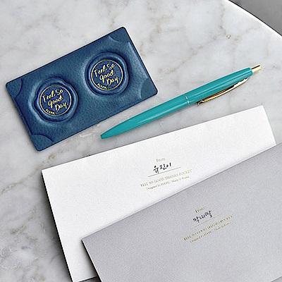 PLEPIC 好經典皮革蠟封章萬用信封袋組-皇家藍