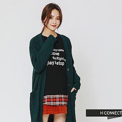 H:CONNECT 韓國品牌 女裝-排釦口袋長板針織外套-綠