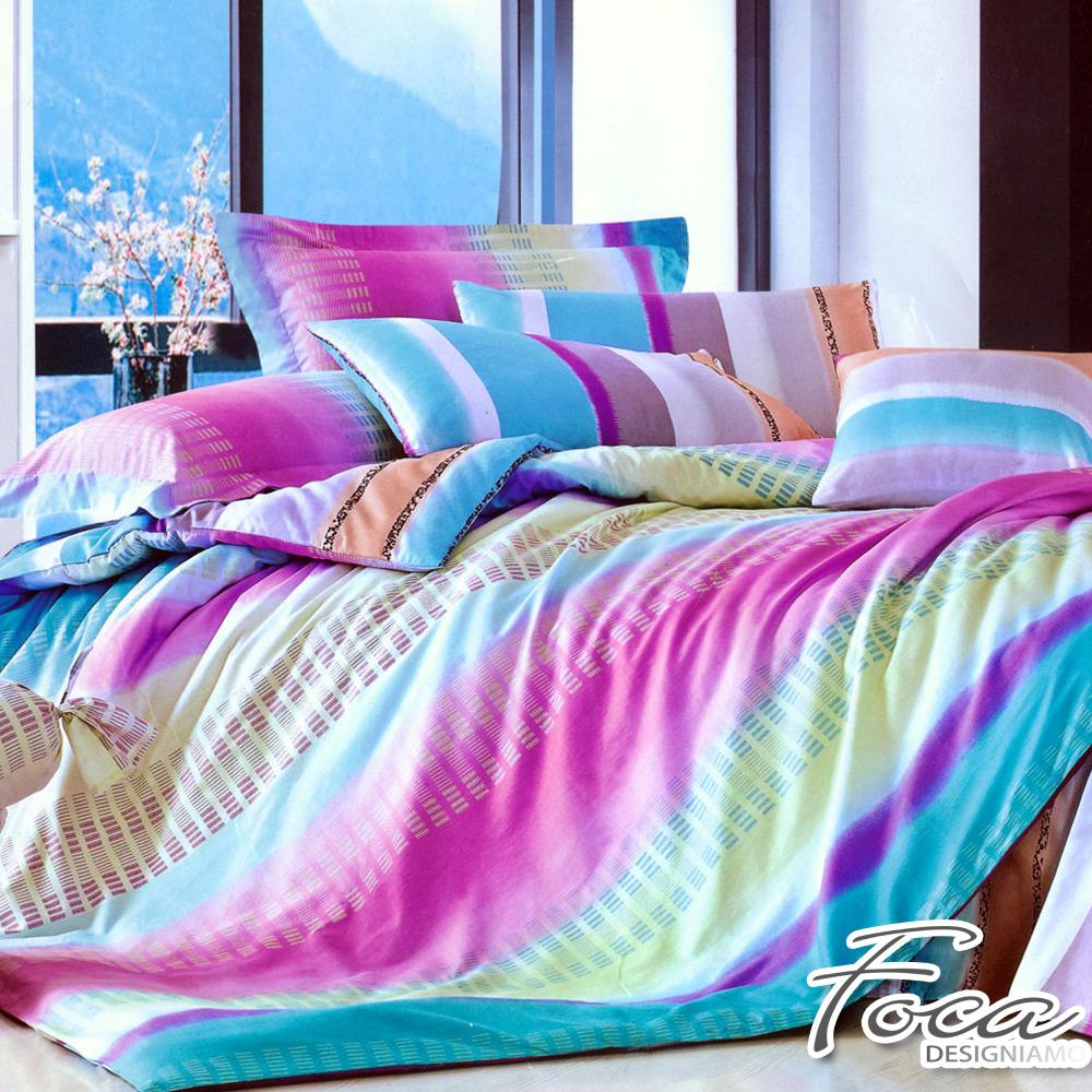 FOCA彩虹旋律-加大-100%精梳純棉四件式兩用被床包組