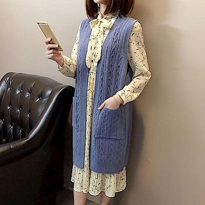 La Belleza韓版雙口袋開衫麻花針織毛衣長版背心