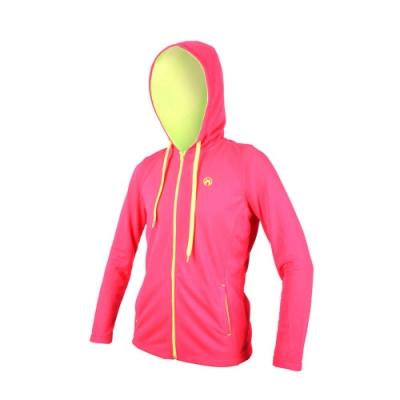 FIRESTAR 女連帽吸溼排汗針織夾克-慢跑 路跑 連帽外套 粉紅螢光黃