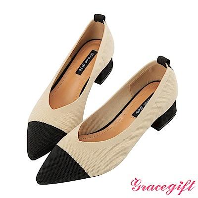Grace gift-尖頭V口織布撞色跟鞋 米白