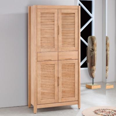 Bernice-原切橡木2.7尺正百葉鞋櫃-83x44x178cm