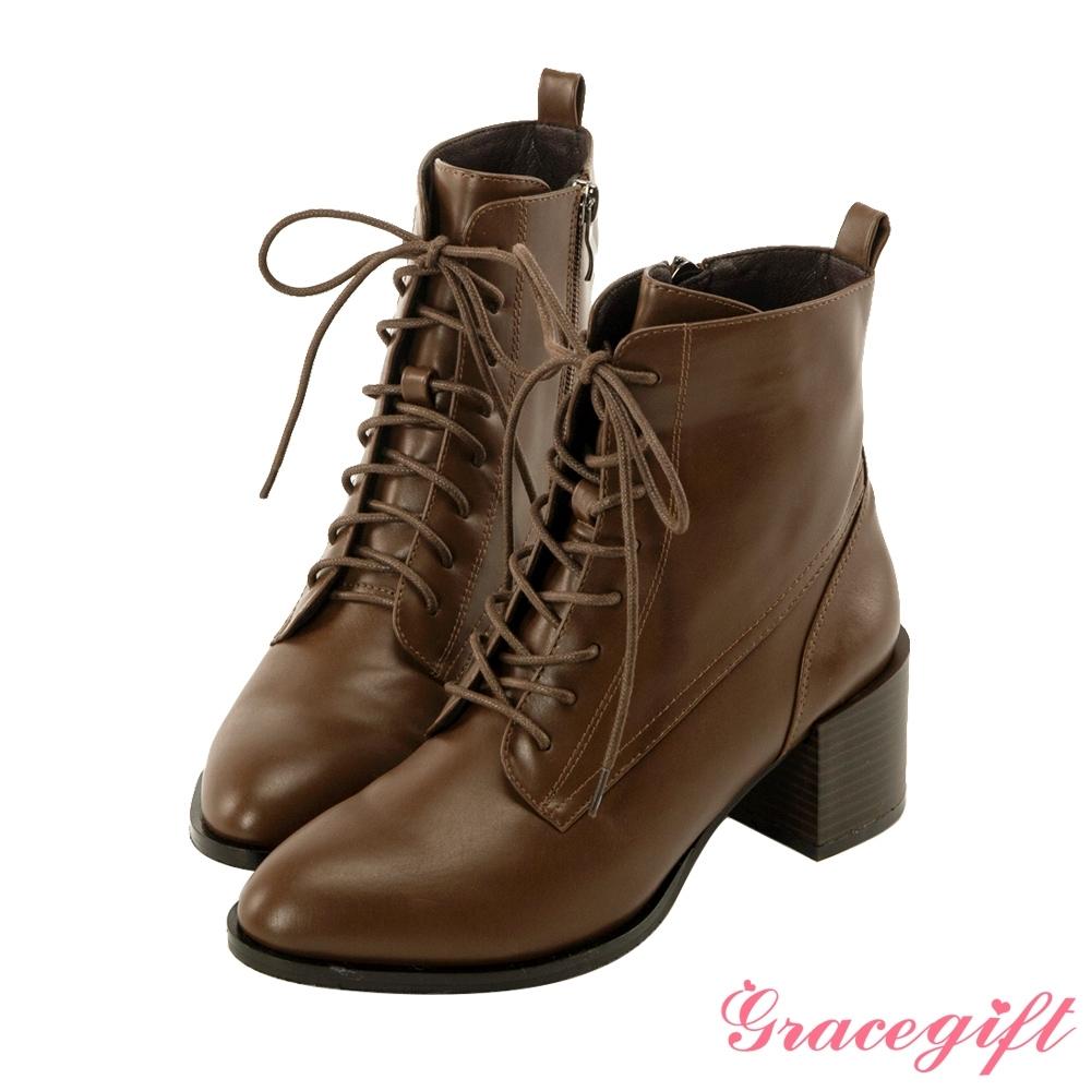 Grace gift-綁帶木紋中跟短靴 咖
