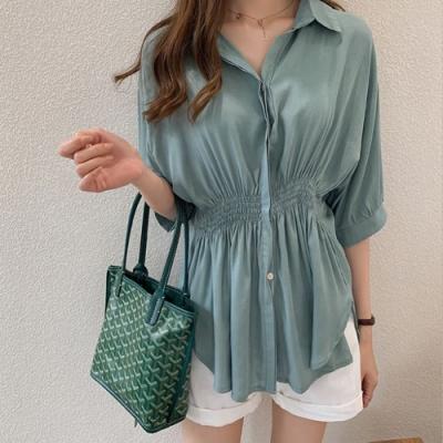 2F韓衣-簡約時尚立領修身造型上衣-2色-(M-2XL)