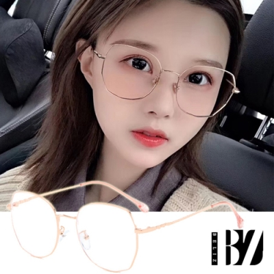 BeLiz 多角圓框 純色細金屬平光眼鏡 玫瑰金
