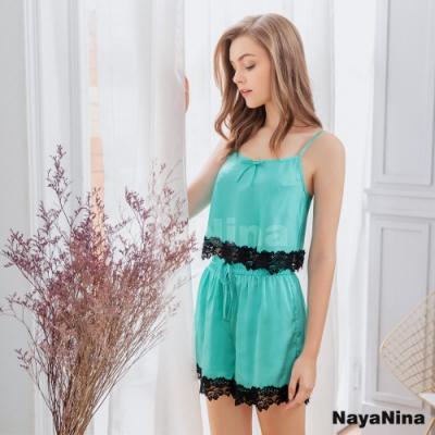Naya Nina 湖水綠蕾絲短版細肩衣短褲二件式套裝居家睡衣-綠F